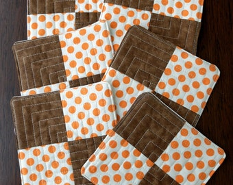 Quilted fabric coasters, drink mats, Polka Dot orange and brown fabric mats, set of 6 patchwork mats