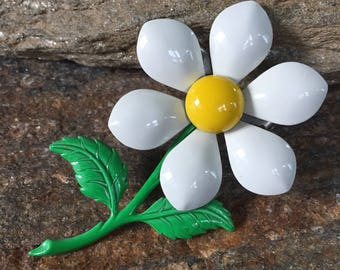 Daisy Brooch Larege Daisy Pin Flower Brooch Daisy Floral Brooch Enamel Flower Brooch Daisy Accessory Gift For Her
