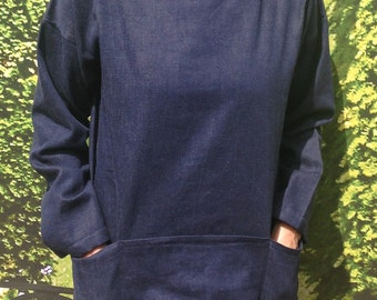 Artist's smock in denim, reversible so pockets can be worn either back or front, available in all sizes