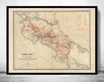 Vintage Map of Costa Rica 1903