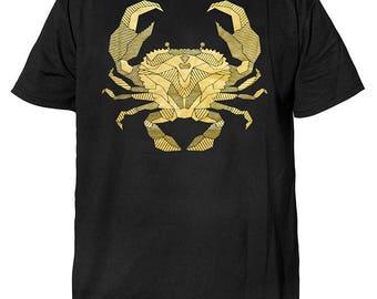 Cancer  Men&Women Couple Short Sleeve Black Hand Printed Cotton T-shirt