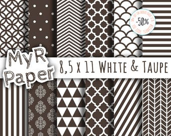 "8,5 x 11 Digital Paper: ""White and Taupe"" - Printable Background - crafting scrapbooking  dot, stripes, chevron, damask"