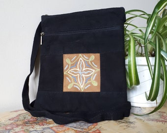 Handcrafted Kashmir Boho Chic Suede Leather Crossbody Purse in Black