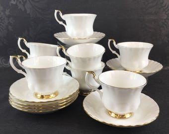 2 of 10 Royal Albert Val d'or Bone China Teacups and Saucers Vintage England