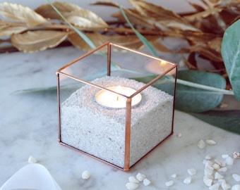 Glass candle holder. Geometric candle holder. Christmas table decor. Wedding table decor. Copper decor. Terrarium. Mini planter. Glass box.