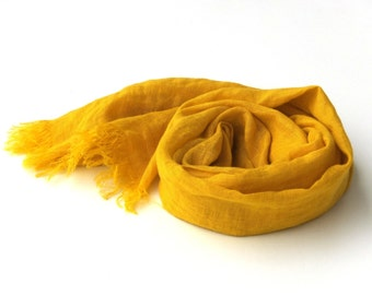 bright yellow scarf - pure linen - long lightweight gauze - wrap shawl