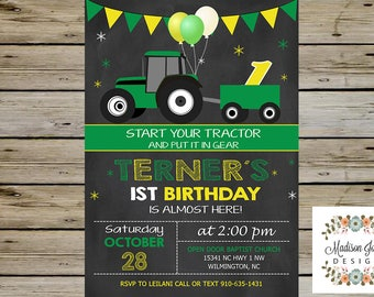 Green & Yellow TRACTOR Birthday INVITATION - Boy Birthday Party Invitation - Digital Printable - Green and Yellow Tractor Birthday