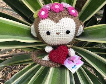 "Amigurumi crochet Changuita in Love ""Osomatli"", Amigurumi Chango, crochet little Monkey"