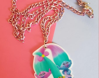 Trolls Pendant and Chain Necklace Dreamworks Movie Stocking Filler