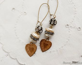 Vintage heart assemblage earrings / boho chic / boho earrings / heart earrings / assemblage jewelry / recycled jewelry / shabby jewelry