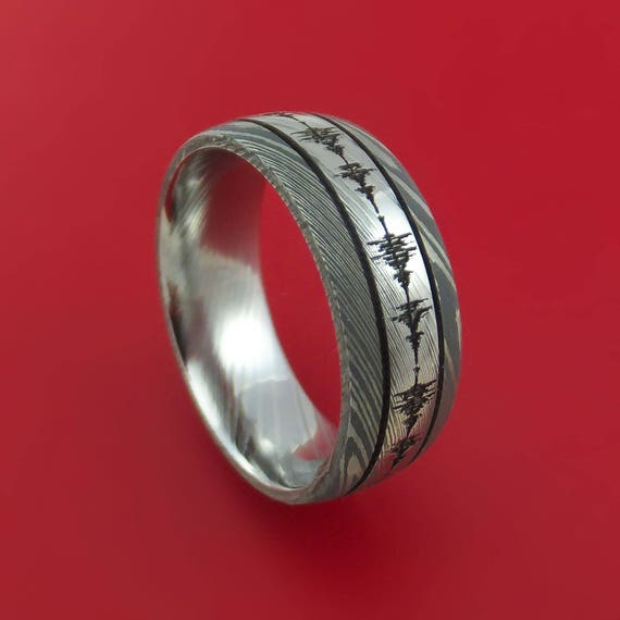 Damascus Steel Two-Tone Sound Wave Ring Custom Made Band