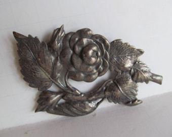 Art Nouveau Brooch Silver Floral Brooch Victorian Accessories Large Floral Brooch Silver Brooch