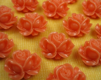 6 Coral Lucite Rose Pendants