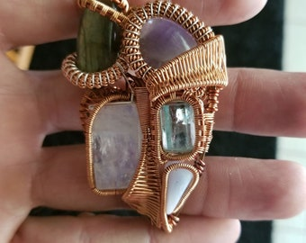 Heady 5 stone wire wrapped pendant