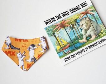 Max orange Where the Wild Things Are book inspired bandana baby bib