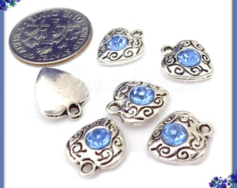 10 Light Blue Rhinestone Hearts, Antiqued Silver Heart Charms, Crystal Heart Charms PS240