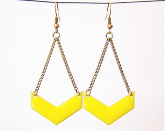 Lemon yellow enameled chevron earrings