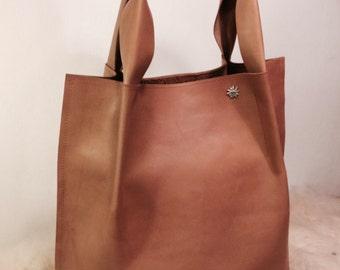 Cognac Leather Shopper – Cognac leather Shopper Tote