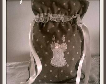Gray chambray lingerie bag with polka dots