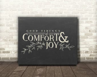 Comfort and Joy, Good Tidings of Comfort and Joy, Canvas Gallery Wrap, Christmas Decor, Wall Art, Christmas Carol Lyrics