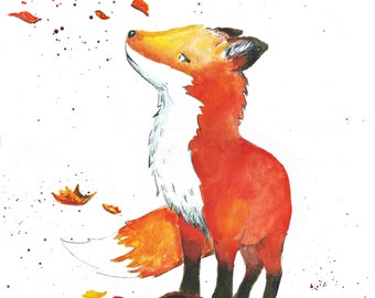 Fox and the Fall - Print - Poster