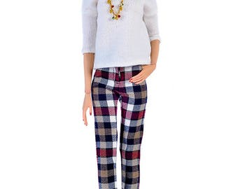 ELENPRIV checkered wool pants for Sybarite Gen X and similar body size dolls