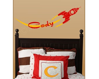 Children's Retro ROCKET SHIP Set Personalized Wall Decals Kid's Room Nursery NK-104