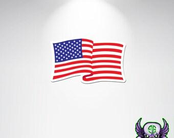 USA Flag Decal, USA Flag Sticker, Waving USA Flag, American Flag, Waving American Flag