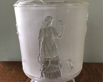 Fabulously kitsch plastic ice bucket as Grecian urn with lid - made by Regaline in USA 1950s