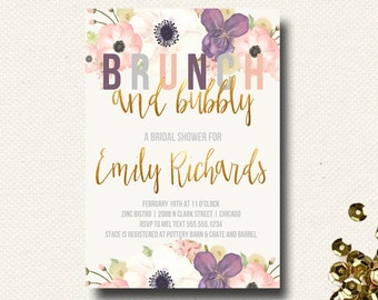 Brunch and Bubbly Invitations Bridal Shower Invites Wedding