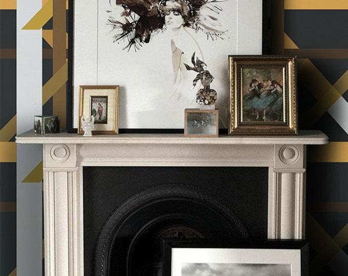 Geometric wallpaper, wallpaper, removable wallpaper, temporary wallpaper, geometric, wall mural, wall decor, home decor, vintage, paper