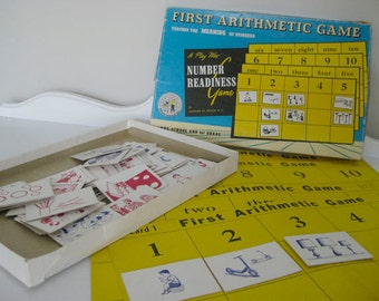 Vintage Game - First Arithmetic Game - Math Practice - First Grade - 1959 - Retro Number Game - Teaching Tool