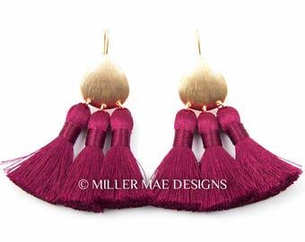 Burgundy Tassel Earrings | Thread Tassel Earrings | Multi-Tassel Earrings | Bohemian Tassel Earrings | Silk Tassel Earrings | Boho Earrings