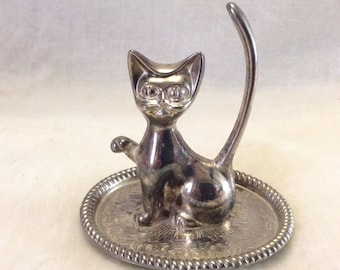 Vintage silverplated made in Hong Kong cat kitty kitten ring tree dish. Free ship to US