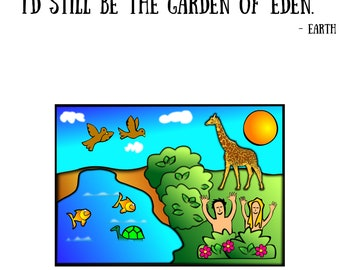 Lovin Planet Earth Day Adam and Eve Garden of Eden Tee Shirt
