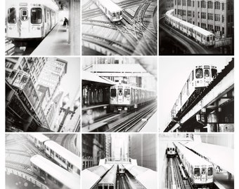 Black and White Photography, CTA train art print, Chicago wall art, print set, nine Chicago train images, wall decor, wall art,  urban  art