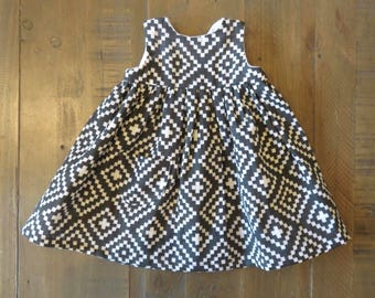 Modern Nordic Print Dress/ Charcoal, Baby, toddler, girl's dress