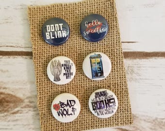 "Doctor Who 1"" Inch Pin or Magnet Set - Tardis - Bad Wolf - Hello Sweetie - Dont Blink"