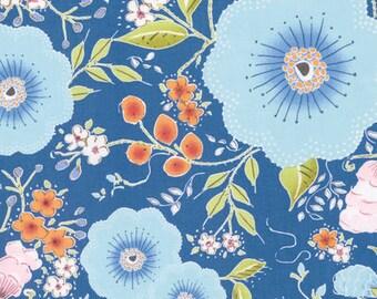 5 Yard Cut - Free Spirit - Dena Designs Fleurette Blue - Floral