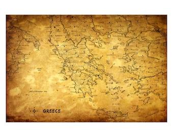 GREECE Vintage Map 5G - Handmade Leather Journal / Sketchbook - Travel Art
