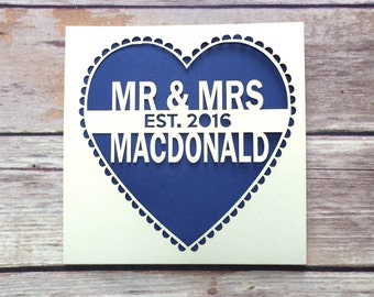 Personalised Papercut Wedding Card, Mr & Mrs, Anniversary Card, Just Married, Wedding Gift, Luxury Wedding Card, Just Hitched, Happy Couple