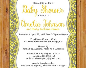 Yellow Grey Damask Baby Shower Invitation Gray Gender Neutral Boy Girl Printable Shower Birthday Baby Invite 5x7 Digital JPG (469)