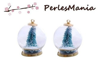 1 pendant GLOBES bubble glass ball and snow pine tree green S1196437 36mm
