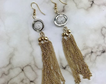 Quartz Crystal Elegant Evening Dangle Earrings
