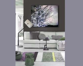 Modern Abstract Canvas Wall Art, Purple, Gray, Holiday Decor, Wall Art Canvas, Large Abstract Canvas Art
