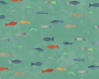 Story by Carrie Bloomston for Such Designs and Windham Fabrics - Fish - Aqua - 1/2 Yard Cotton Quilt Fabric 516