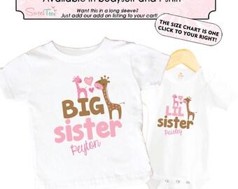 Big Sister Giraffe Shirt SET Little Sister Pink Sibling Personalized Big Sister Big Brother Shirts bodysuit SET