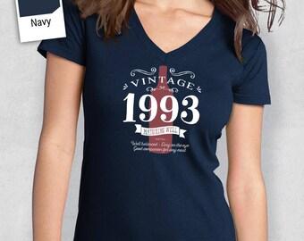 25th Birthday, 1993 Birthday, Women's V-Neck, 25th Birthday Idea, 25th Birthday Present, or Birthday Gift. For The Lucky 25 Year Old!