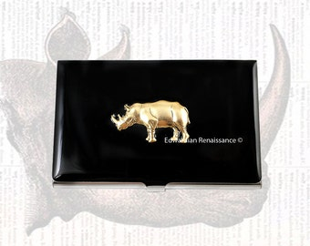 Rhino Business Card Case Inlaid in Hand Painted Black Enamel Metal Wallet Neo Victorian Custom Colors and Personalized Options