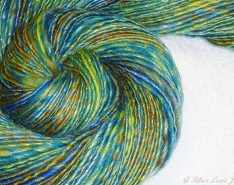 Sea Glass Handspun Art Yarn - 196 yds - Thick and Thin - Single Ply - Knitting - Crochet - Weaving - Fiber Arts - Mixed Media - Textile Arts